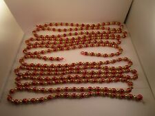 Lot of 2 Plastic Christmas Garland String Gold Tone & Red Beads