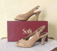 NEW SOFFT Scafati 7/38 Slingback Heels Shoes Gold Natural Cork Womens Comfort