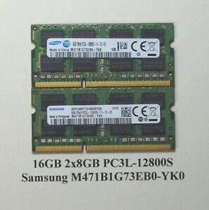 16GB 2x8GB PC3L-12800S Samsung Laptop Memory