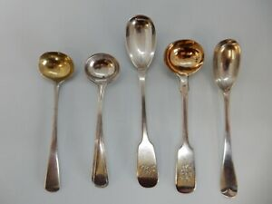 5 Various Good Sized Solid SILVER SALT & MUSTARD Spoons. London Birmingham