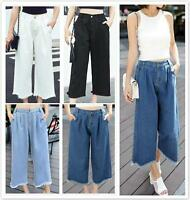 AU SELLER Womens Fringe Hem Wide Leg Jeans Denim Plus Size Pants P010