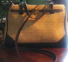 Etienne Aigner 6 pocket garden straw collection purse w/navy leather like trim