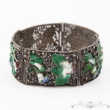 Antique Vintage Deco Sterling Silver Chinese Filigree Enamel Estate Bracelet!