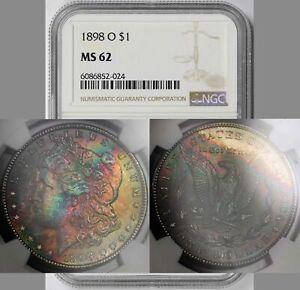 1898-O Morgan Dollar $1 MS 62 NGC Rainbow Color Toned