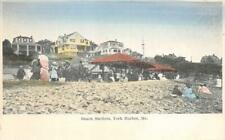 Beach Shelters, York Harbor, Maine ca 1910s Vintage Postcard