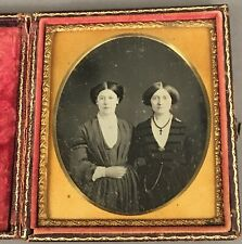 1/6 PLATE DAGUERREOTYPE OF TWO YOUNG WOMEN, FRIENDS, NO WIPE MARKS, FULL CASE