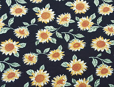 Cotton Spandex Jersey Knit Sunflower on Black Hippie Print Fabric by Yard 6/15