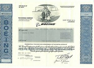 RARE BOEING Common Stock Certificate (156) Shares March 2000 (Unsigned)