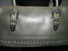 Gray Silver Western Satchel Handbag w/ Studs, Bling Rhinestones & Buckles NWOT