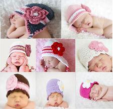New Wholesale Lot 10 Knit Cotton Newborn Baby Flowers Hat Photo Prop Hats Gift