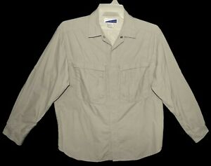 Sz M Exofficio Insect Repellent Long Sleeve Shirt Roll-Up 100% Nylon Vented Tan