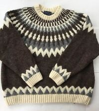 Paul James Sweater England Sz. M Brown/Gray/Ivory Wool Pullover Women
