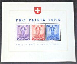Switzerland Semi-Postal Stamps #B80 MNH Souvenir Sheet 1936 cv$105