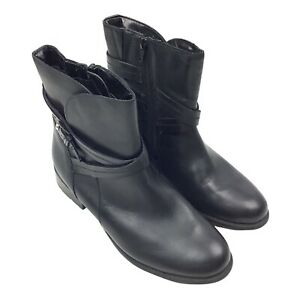 Clarks Women's Size 9 Black Vegan Leather Ankle Boots Booties Zip Up