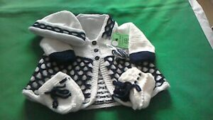 Hand-knitted  Baby's white and navy  matinee coat set  size 0/3months