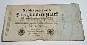 1922 Berlin 500 Mark German Banknote  Serial no.2122305