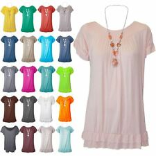 New Womens Peplum Ruffle Frill Hem Short Sleeve Necklace Gypsy Ladies Summer Top