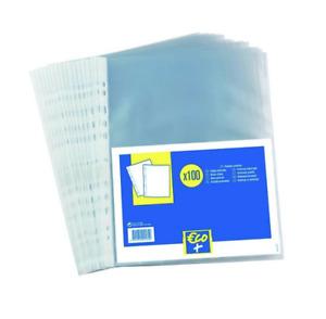 Sachet 100 Pochettes Perforées - A4 - Polypropylène - Grainé - Transparent