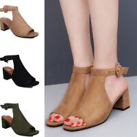 Casual Womens Ladies Open Toe Chunky Ankle Sandals Party Club Srtap Shoe Size