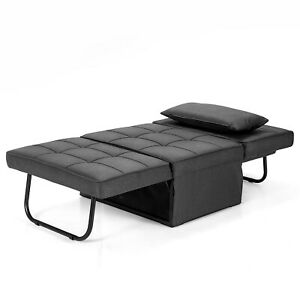 Costway 4 in 1 Multi-Function Sofa Bed Convertible Sleeper Folding Ottoman Grey