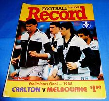 1988 AFL Football Footy Record Preliminary Final Carlton V Melbourne No Scores