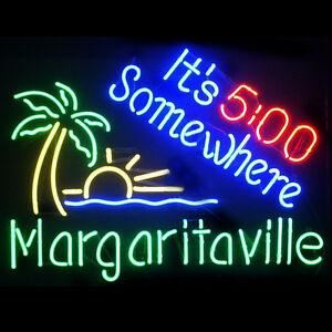 "19""x15""Margaritaville It is 5:00 Somewhere Neon Sign Light Tiki Bar Pub Room Art"