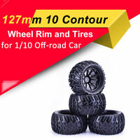 4x 127mm 10 Contour Off-road Wheel Rim+Tires for RC Car 1/10 Monster Truck