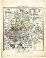 Karte der Provinz Sachsen u. Anhalt von 1848, Grenzkolorierte Lithographie.