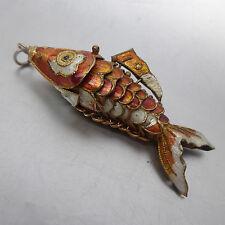 Fein emaillierter Fisch- Anhänger, alle Teile beweglich, 64 mm lang