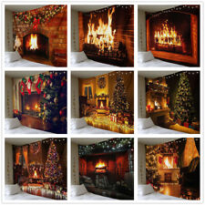 Christmas Tapestry Wall Hanging Winter Fireplace Flame Christmas Tree Poster