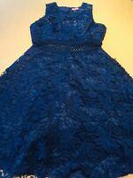 CHICHI NAVY BLUE FLORAL LACE MIDI FLARE SLEEVELESS BRIDESMAID DRESS SIZE 14