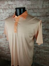 Peter Millar S/S Polo Golf Shirt Coral Pink Stripes Cotton Euc Soft!