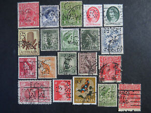 Perfins on Australian Stamps Selection - 1 Page