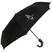 Pierre Cardin Auto Open Crook Handle Short Silver Design Mens Umbrella in Black