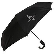 Pierre Cardin Auto Open Crook Handle Short Silver Design Mens Umbrella in Black
