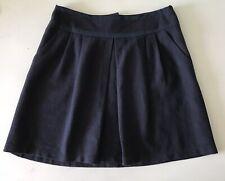 NANETTE LEPORE Navy Blue Pleated Mini Skirt Flared Cotton Blend Lined Pockets  8