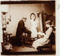 FRANCE Artiste Peintre à identifier 15 Mai 1920, Photo Stereo Plaque ca 1910