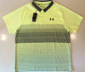 Under Armour HeatGear Golf Neon Stripe Polo Rugby Collar Button Shirt XXXL 3XL