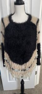 Vintage black and ivory wool and angora blend top sweater with decorative discs