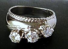Vintage 14k White Gold .88 Ct European Old Mine Diamond 3-Stone Wide Band Ring