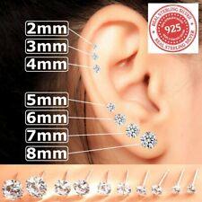 Real 925 Sterling Silver Cubic Zirconia Studs Earrings Men Ladies Women Kids Set