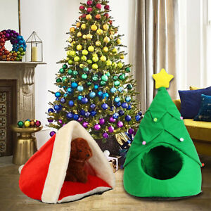 Christmas Pet House Soft Nest Bed Dog Cat Tree Hat Shape Cat House Home   #!