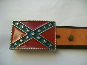 USA AMERICAN FLAG VINTAGE BELT BUCKLE AND EMBOSSED LEATHER BELT.