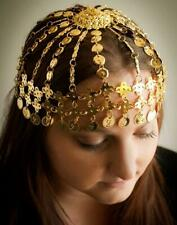 ETHNIC Tribal Gypsy Belly Dancer Plated Metal GOLD COIN ACCENT HEAD PIECE New
