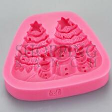 Christmas Tree & Snowmen Themed Mould Silicone Fondant Topper