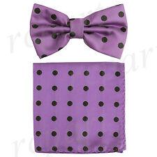 New Men's Microfiber Pre-tied Bow Tie & Pocket Square Hankie Lavender Black Dots