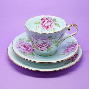 Aynsley Cabbage Rose Pastel Blue Tea Cup, Saucer, Plate, Trio Vintage England