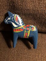 "Vintage Dala Horse Nils Olsson Blue Painted Wood From Sweden 3-1/2""x4"" NWT"