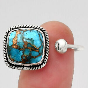 Adjustable - Copper Blue Turquoise 925 Sterling Silver Ring s.7 Jewelry E904