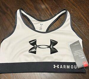 Sz Large Under Armour Sports Bra Mid Keyhole Medium support White Black NEW